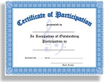 Certificate of Participation (In Recognition of Outstanding Participation) 10 Certificates per package