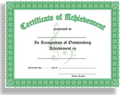 certificate of achievement in recognition of outstanding