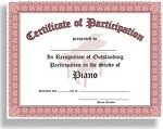 Certificate of Outstanding Participation in the Study of Piano - 10 Certificates per package