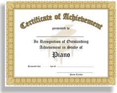 Certificate of Achievement in the Study of Piano (In Recognition of Outstanding Achievement in the Study of Piano) 10 Certificates per package